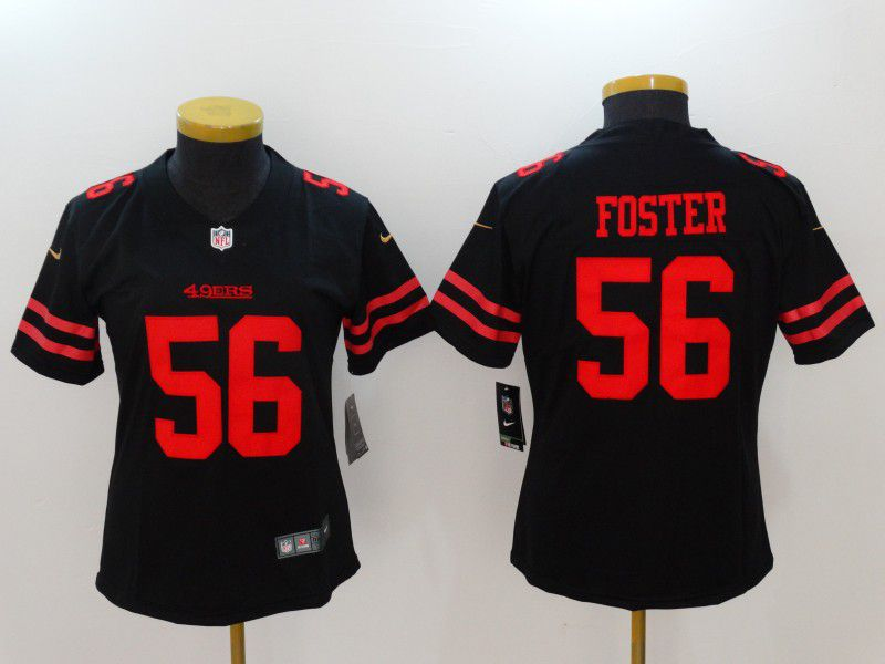 Women San Francisco 49ers 56 Foster Black Nike Vapor Untouchable Limited NFL Jerseys