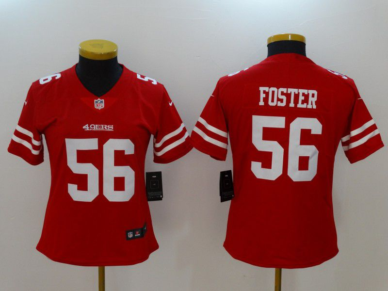 Women San Francisco 49ers 56 Foster Red Nike Vapor Untouchable Limited NFL Jerseys