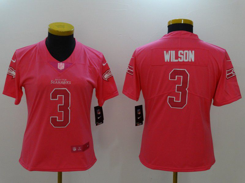 Women Seattle Seahawks 3 Wilson Pink Nike Vapor Untouchable Limited NFL Jerseys