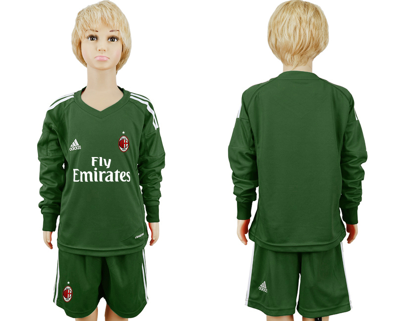 2017-2018 club AC milan Military green goalkeeper Long sleeve blank kids soccer jersey