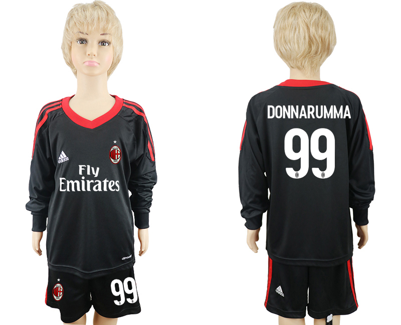 2017-2018 club AC milan black goalkeeper Long sleeve 99 kids soccer jersey