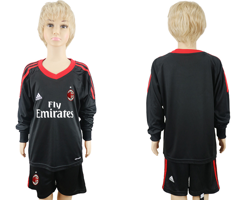 2017-2018 club AC milan black goalkeeper Long sleeve blank kids soccer jersey