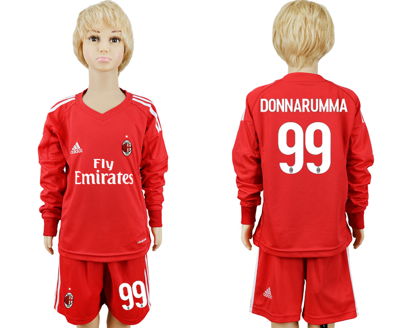 2017-2018 club AC milan red goalkeeper Long sleeve 99 kids soccer jersey