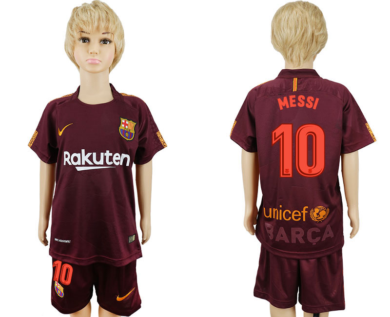 2017-2018 club Barcelona away kids 10 red soccer jersey