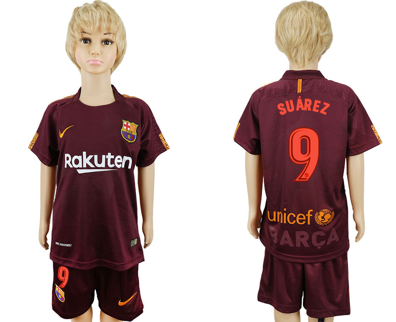 2017-2018 club Barcelona away kids 9 red soccer jersey