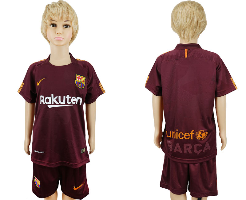 2017-2018 club Barcelona away kids blank red soccer jersey