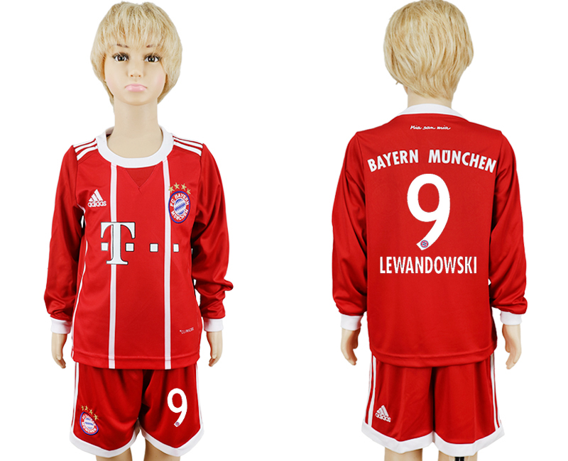 2017-2018 club Bayern Munich home kids long sleeve 9 red soccer jersey