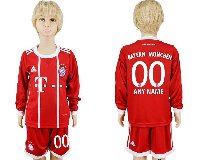 2017-2018 club Bayern Munich home kids long sleeve customized red soccer jersey