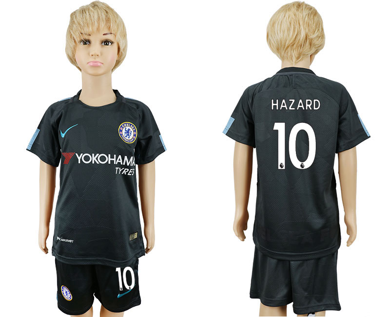 2017-2018 club Chelsea FC away kids 10 black soccer jersey