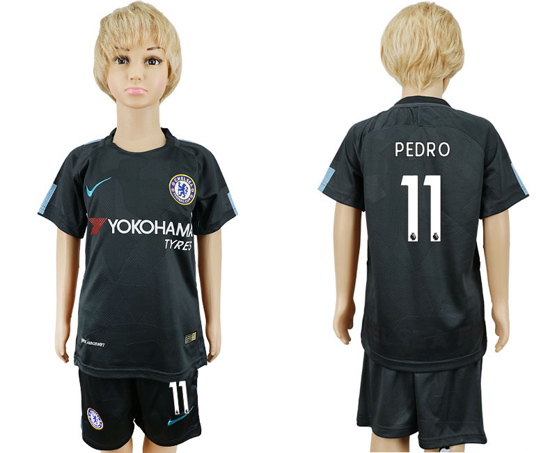 2017-2018 club Chelsea FC away kids 11 black soccer jersey