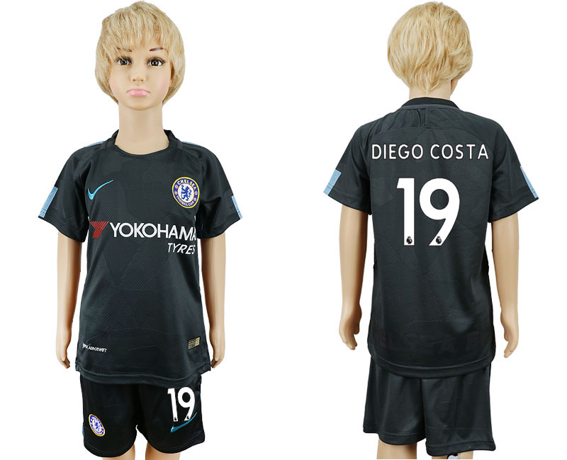 2017-2018 club Chelsea FC away kids 19 black soccer jersey