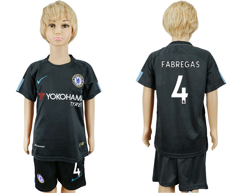 2017-2018 club Chelsea FC away kids 4 black soccer jersey