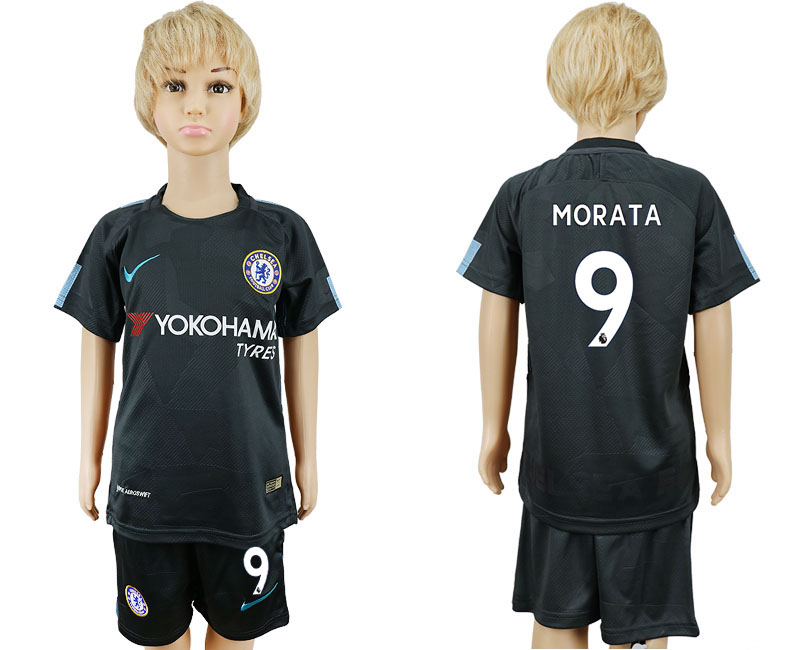 2017-2018 club Chelsea FC away kids 9 black soccer jersey
