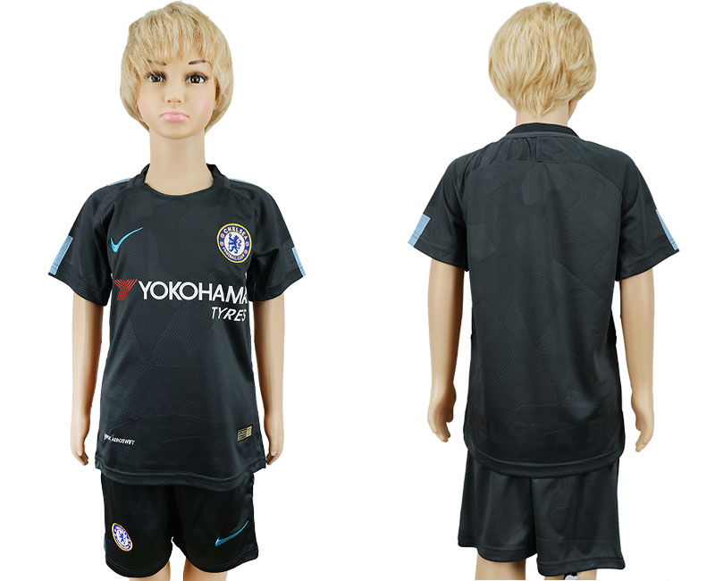 2017-2018 club Chelsea FC away kids blank black soccer jersey
