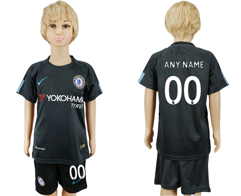 2017-2018 club Chelsea FC away kids customized black soccer jersey