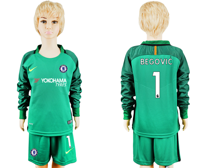 2017-2018 club Chelsea green goalkeeper long sleeve kids 1 soccer jersey