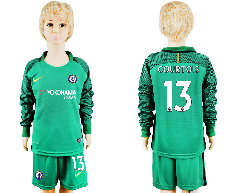 2017-2018 club Chelsea green goalkeeper long sleeve kids 13 soccer jersey