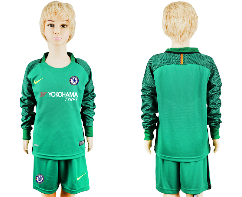 2017-2018 club Chelsea green goalkeeper long sleeve kids blank soccer jersey