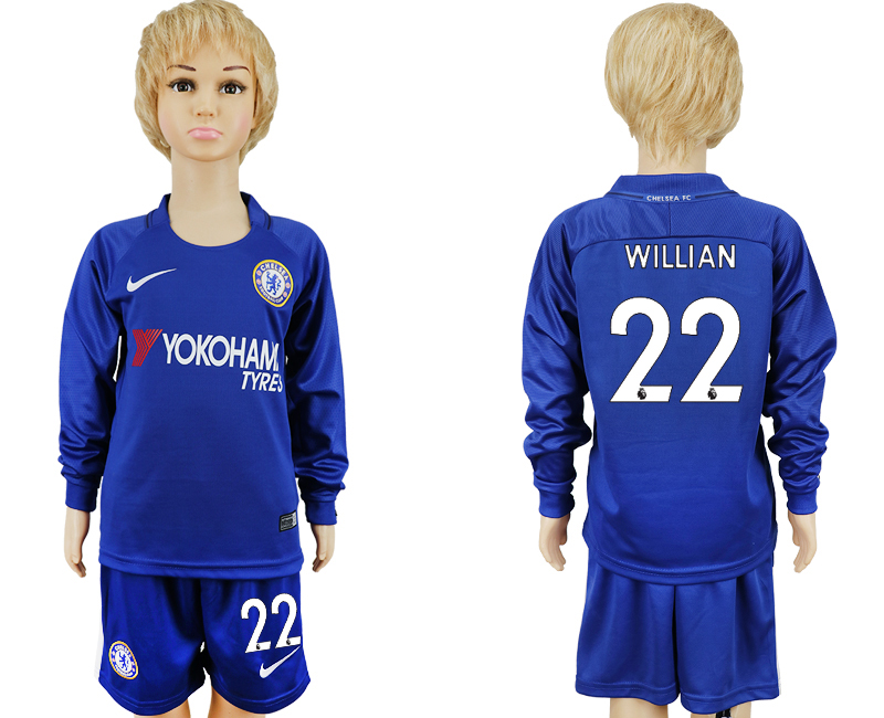 2017-2018 club Chelsea long sleeved kids 22 blue soccer jersey