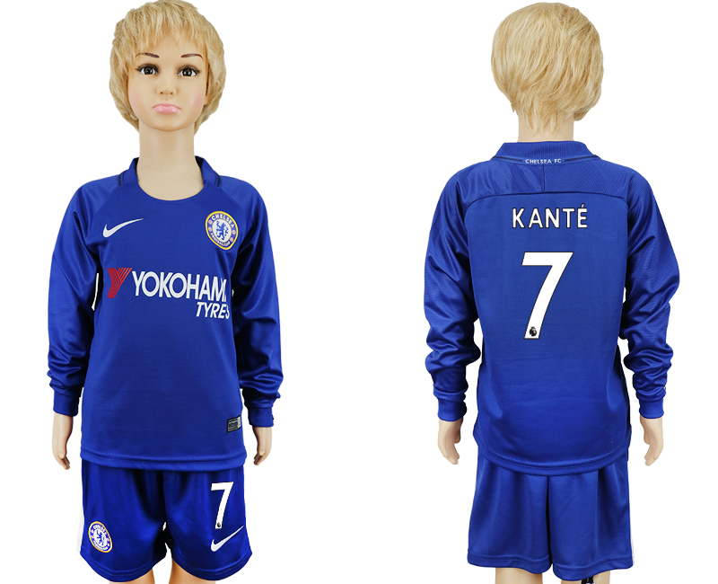 2017-2018 club Chelsea long sleeved kids 7 blue soccer jersey