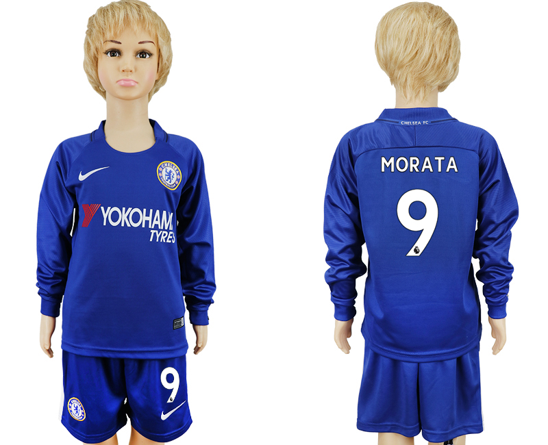 2017-2018 club Chelsea long sleeved kids 9 blue soccer jersey