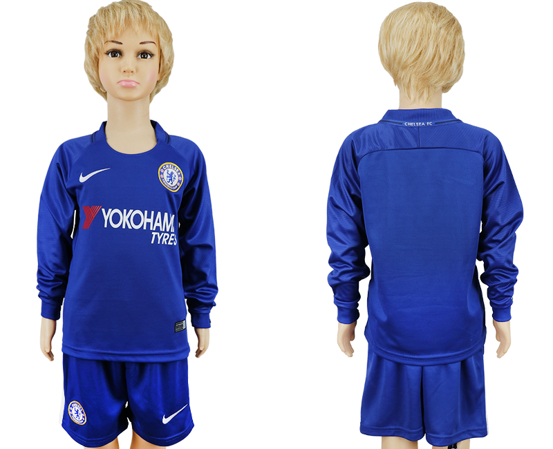 2017-2018 club Chelsea long sleeved kids blank blue soccer jersey