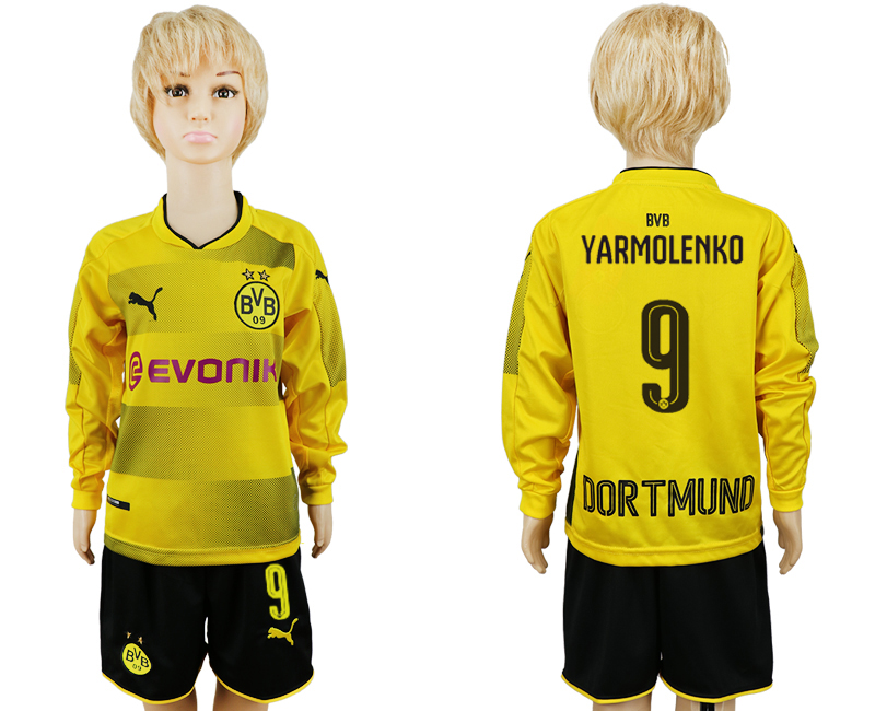 2017-2018 club Dortmund home long sleeve 9 yellow kids soccer jersey