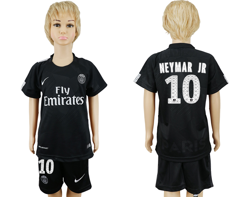 2017-2018 club Paris Saint-Germain away kids 10 black soccer jersey