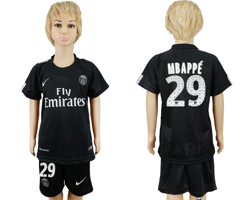 2017-2018 club Paris Saint-Germain away kids 29 black soccer jersey