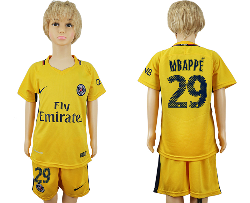 2017-2018 club Paris Saint-Germain away kids 29 yellow soccer jersey