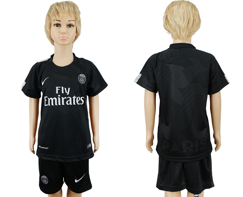 2017-2018 club Paris Saint-Germain away kids blank black soccer jersey
