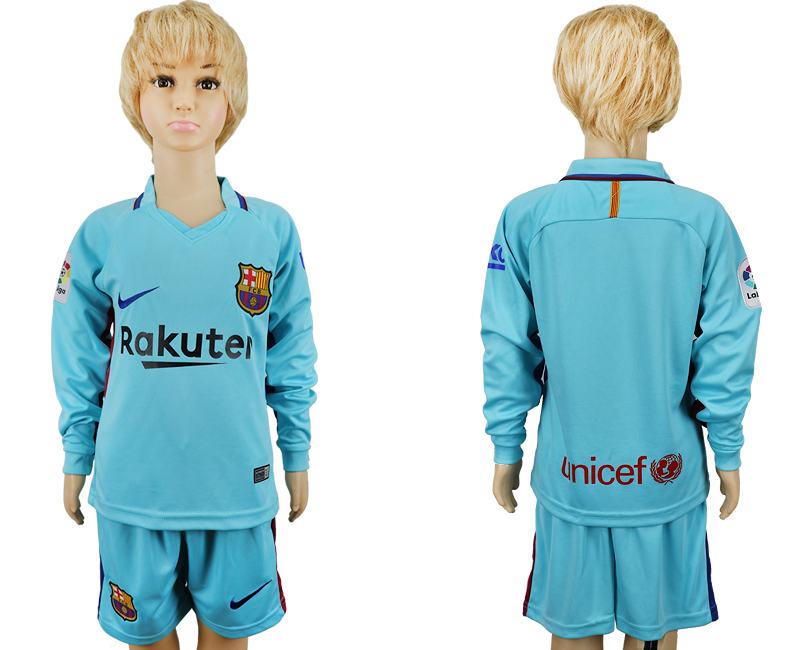 2017-2018 club barcelona away long sleeve kids blank blue soccer jersey
