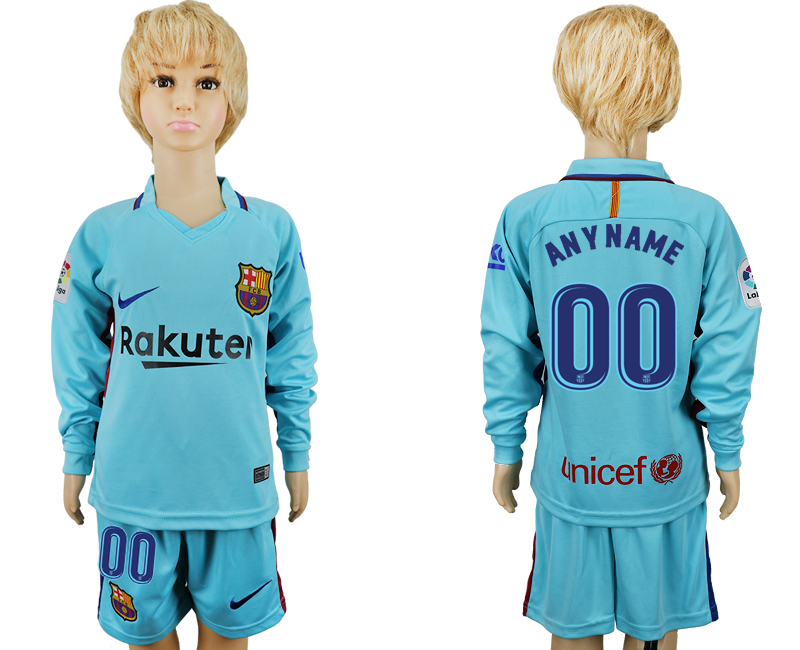 2017-2018 club barcelona away long sleeve kids customized blue soccer jersey