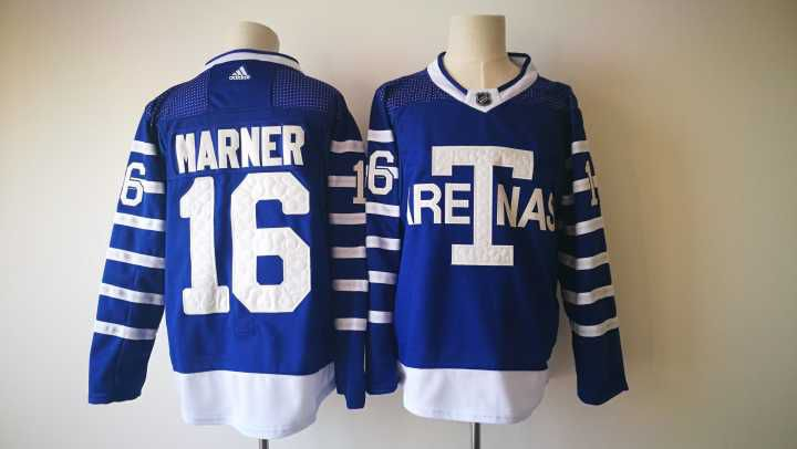 Men 2017 NHL Toronto Maple Leafs 16 Marner Adidas blue jersey