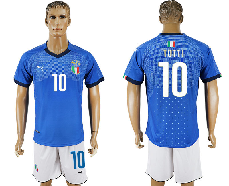 Men 2017-2018 National Italy home 10 blue soccer jersey