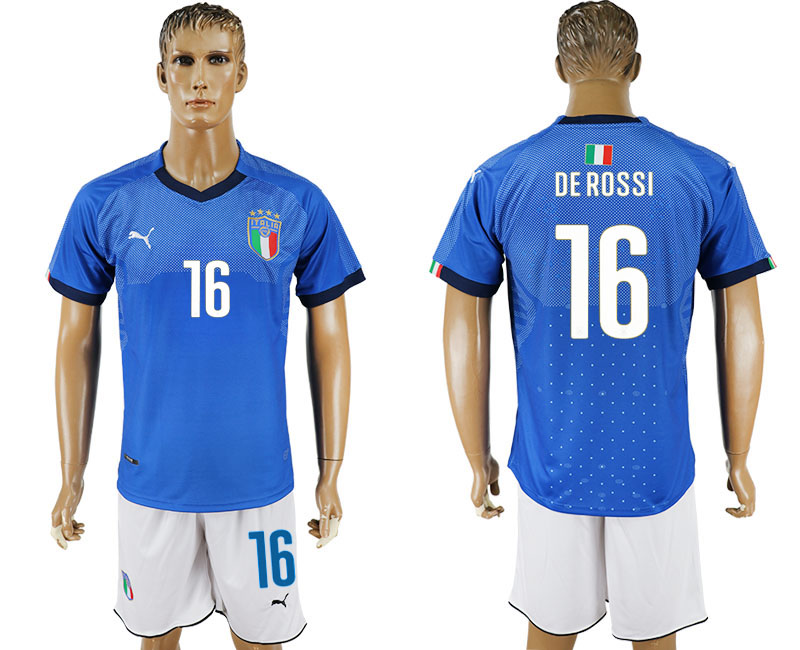 Men 2017-2018 National Italy home 16 blue soccer jersey