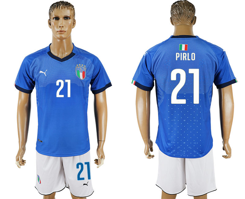 Men 2017-2018 National Italy home 21 blue soccer jersey
