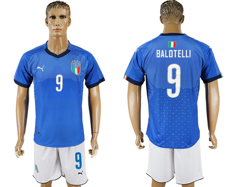 Men 2017-2018 National Italy home 9 blue soccer jersey