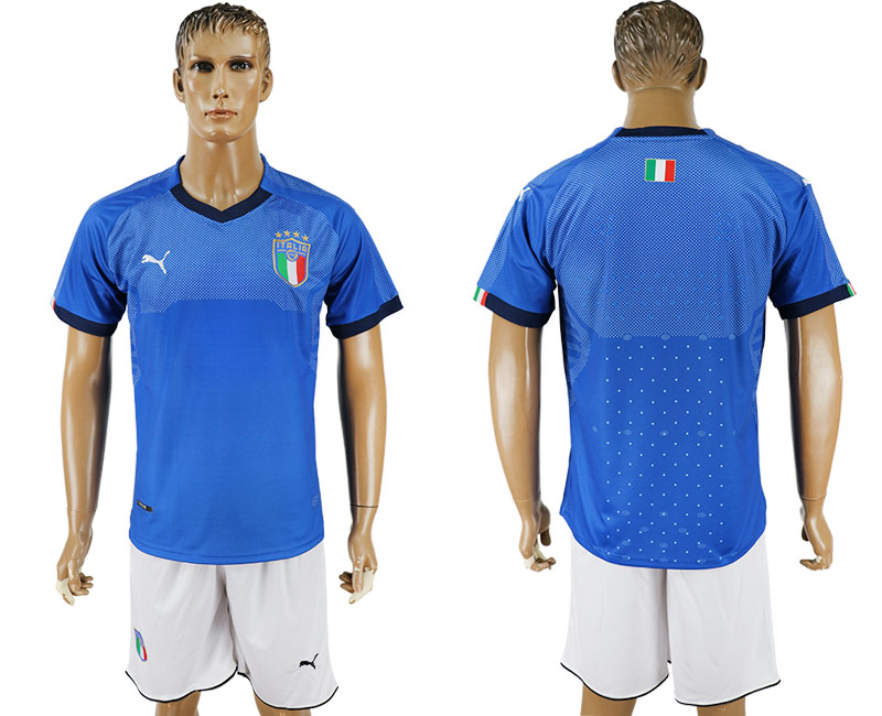Men 2017-2018 National Italy home blank blue soccer jersey