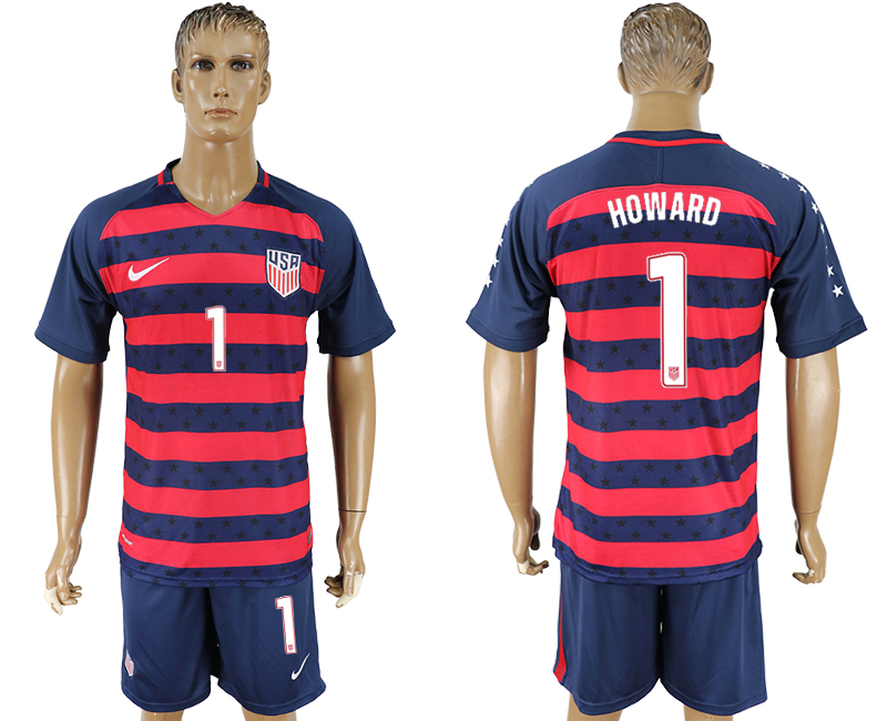 Men 2017-2018 National United States away 1 blue soccer jersey