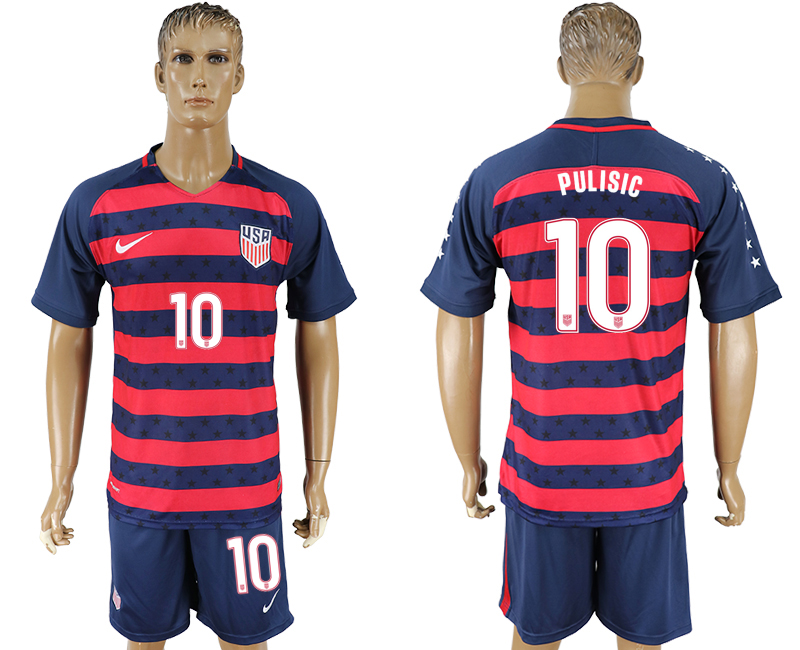 Men 2017-2018 National United States away 10 blue soccer jersey2