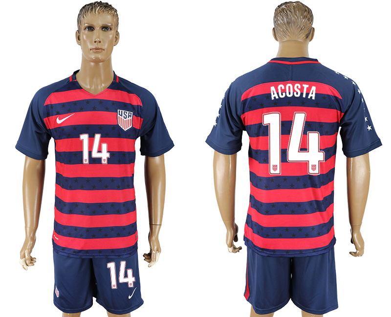 Men 2017-2018 National United States away 14 blue soccer jersey1