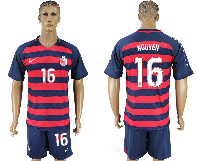 Men 2017-2018 National United States away 16 blue soccer jersey