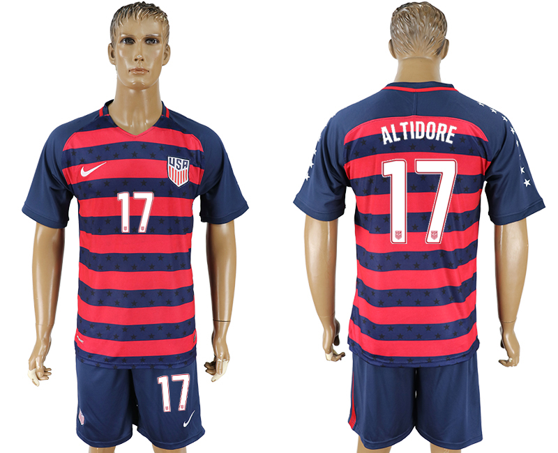 Men 2017-2018 National United States away 17 blue soccer jersey