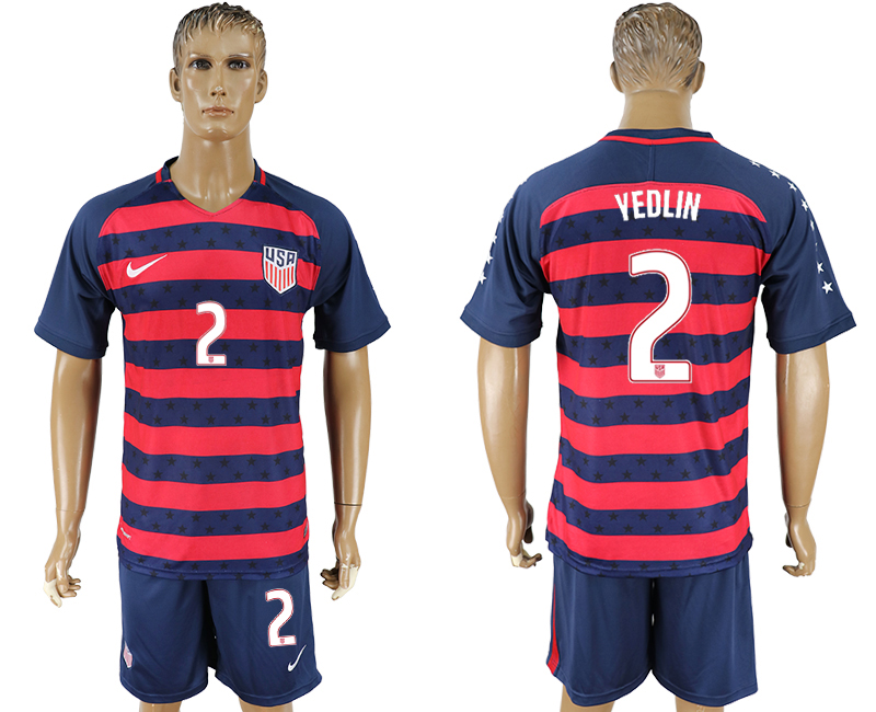 Men 2017-2018 National United States away 2 blue soccer jersey