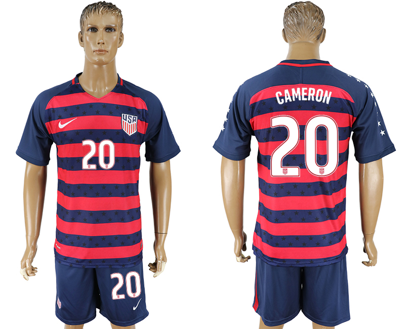 Men 2017-2018 National United States away 20 blue soccer jersey