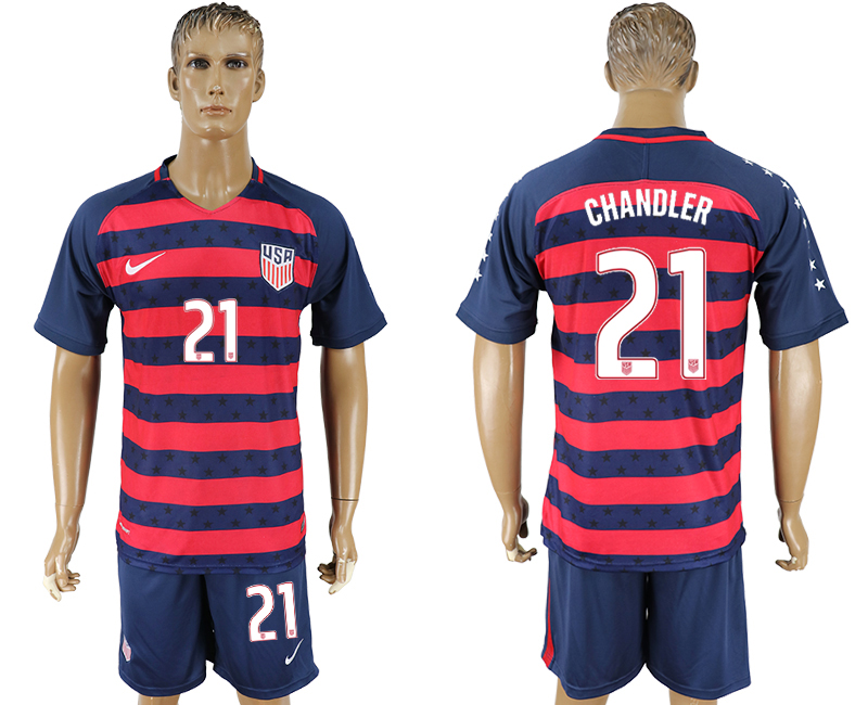 Men 2017-2018 National United States away 21blue soccer jersey