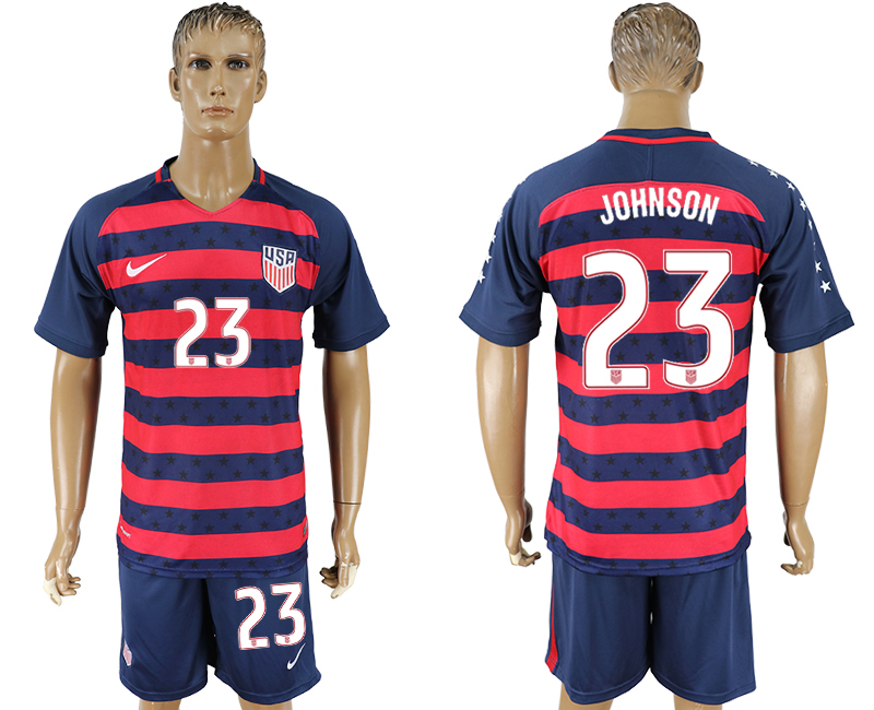Men 2017-2018 National United States away 23 blue soccer jersey
