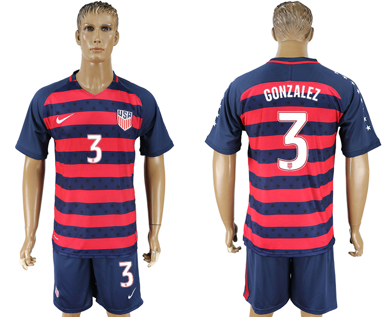 Men 2017-2018 National United States away 3 blue soccer jersey