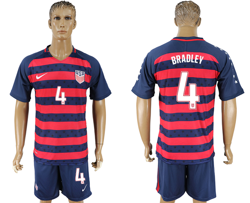 Men 2017-2018 National United States away 4 blue soccer jersey